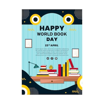 Modèle d'affiche verticale pour la célébration de la journée mondiale du livre