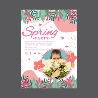 Modèle d'affiche verticale pour la fête du printemps avec femme et fleurs