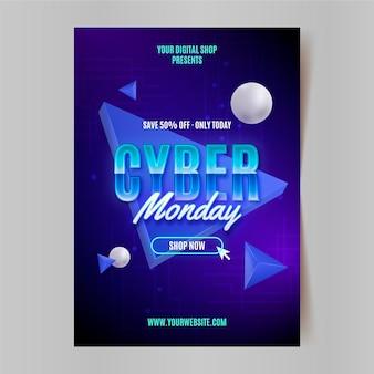 Modèle d'affiche verticale réaliste du cyber lundi