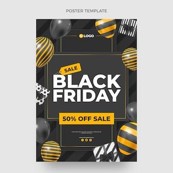 Modèle d'affiche verticale réaliste du vendredi noir avec des ballons noirs et or