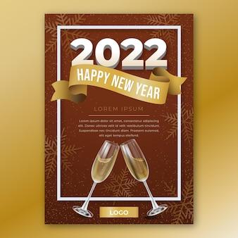 Modèle d'affiche verticale réaliste de nouvel an avec des verres de champagne