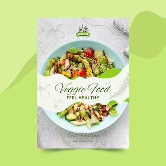 Modèle d'affiche verticale de restaurant d'aliments sains