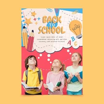 Modèle d'affiche verticale de retour à l'école dessiné à la main avec photo