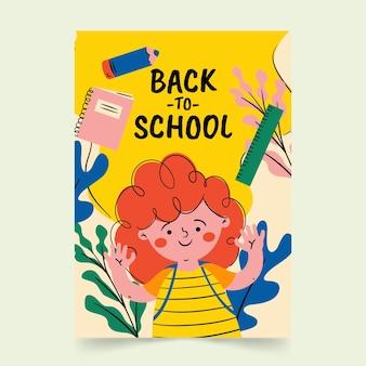 Modèle d'affiche verticale de retour à l'école dessiné à la main