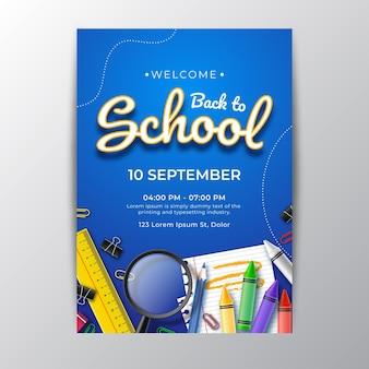 Modèle d'affiche verticale de retour à l'école réaliste
