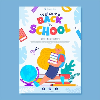 Modèle d'affiche verticale de retour à l'école