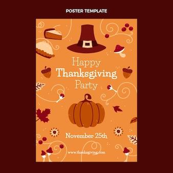 Modèle d'affiche verticale de thanksgiving plat dessiné à la main