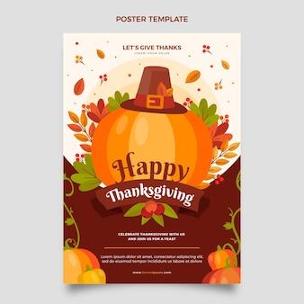 Modèle d'affiche verticale de thanksgiving plat