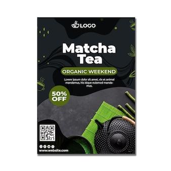 Modèle d'affiche verticale de thé matcha