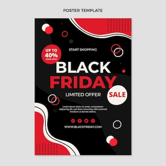 Modèle d'affiche verticale vendredi plat noir dessiné à la main