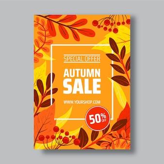 Modèle d'affiche verticale de vente d'automne dessiné à la main