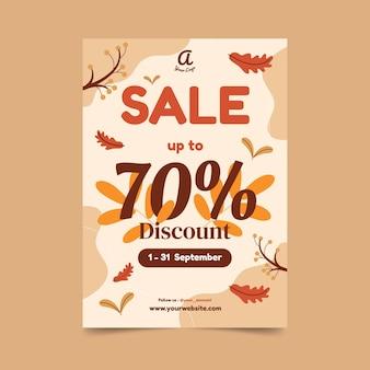 Modèle d'affiche verticale de vente d'automne