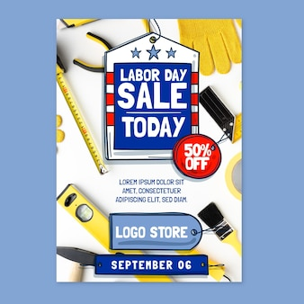 Modèle d'affiche verticale de vente de fête du travail dessiné à la main avec photo