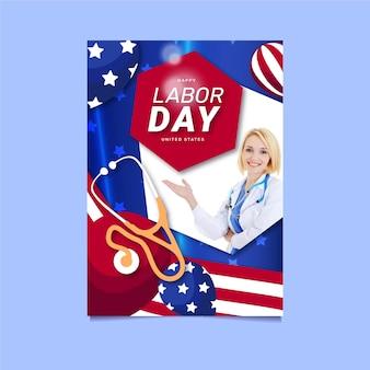 Modèle d'affiche verticale de vente de fête du travail plat avec photo