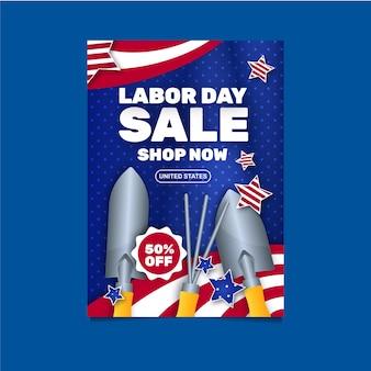 Modèle d'affiche verticale de vente de fête du travail plate