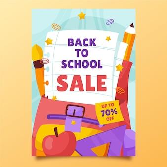 Modèle d'affiche verticale de vente de retour à l'école dessiné à la main