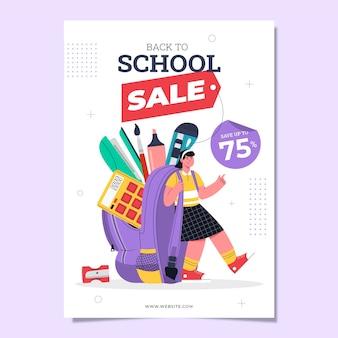 Modèle d'affiche verticale de vente de retour à l'école