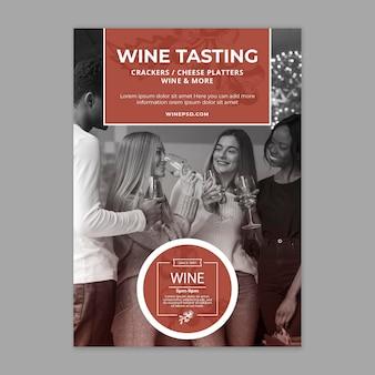 Modèle d'affiche de vin avec photo
