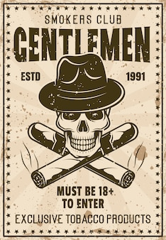 Modèle d'affiche vintage de club de messieurs fumeurs avec crâne en chapeau de gangster et illustration de cigares croisés