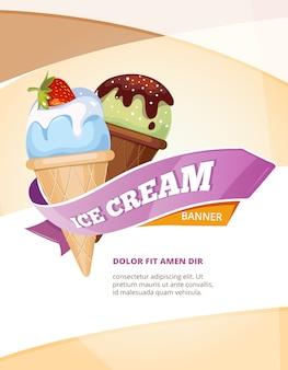 Modèle d'affiche vintage délicieux vecteur de crème glacée