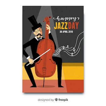 Modèle d'affiche vintage international jazz day