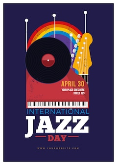 Modèle d'affiche vintage de la journée internationale du jazz