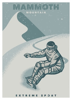Modèle d'affiche vintage snowboarder extreme sport in mammoth mountain