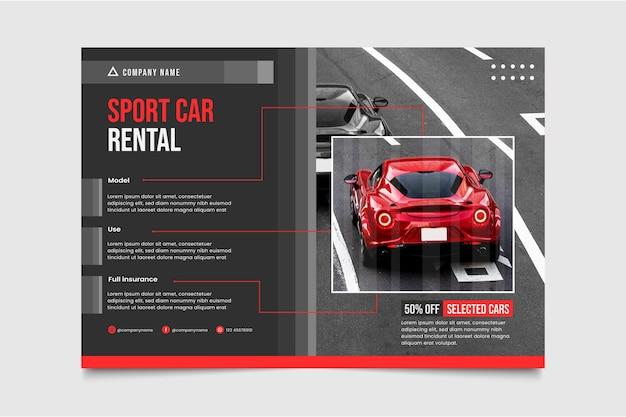 Modèle d'affiche de voiture plate avec photo