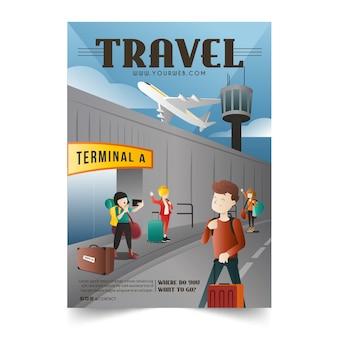 Modèle d'affiche de voyage à différents endroits illustré