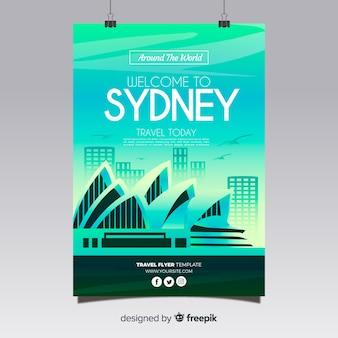Modèle d'affiche de voyage silhouette ville