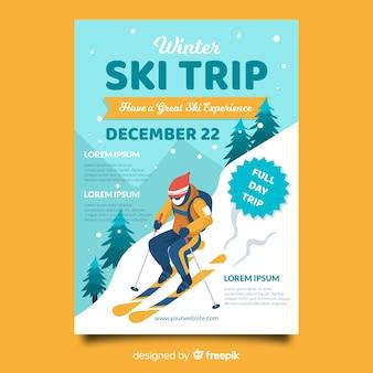 Modèle d'affiche de voyage de ski skieur