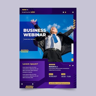 Modèle d'affiche de webinaire d'entreprise dégradé