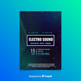 Modèle d'affiches musique ondes sonores