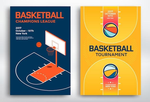 Modèle d'affiches sportives de tournoi de basket-ball. panneau et terrain de basket-ball isométriques