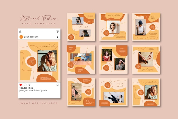 Modèle d'alimentation de puzzle de médias sociaux beige printemps mode vente