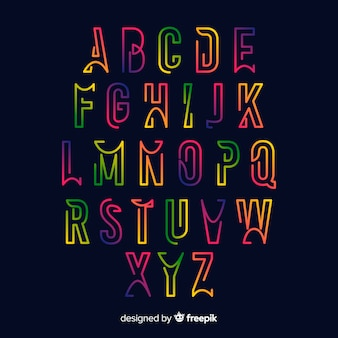 Modèle d'alphabet dégradé coloré