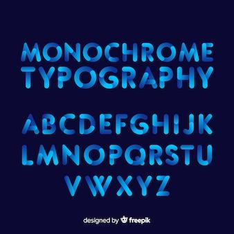 Modèle d'alphabet dégradé typographie