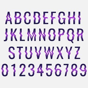 Modèle d'alphabet de distorsion glitch
