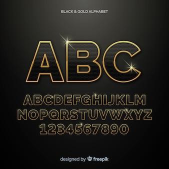 Modèle alphabet doré