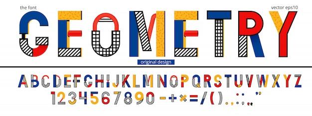 Modèle d'alphabet géométrique de memphis