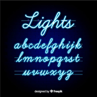 Modèle d'alphabet néon