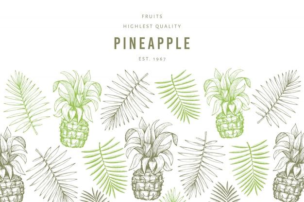 Modèle d'ananas et de feuilles tropicales.