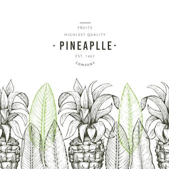 Modèle d'ananas et feuilles tropicales.