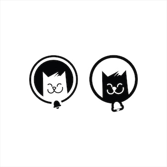 Modèle animal d'illustration de dessin animé mignon visage de chat souriant