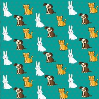 Modèle d'animaux de compagnie avec des étiquettes de lapin de chat et de chien