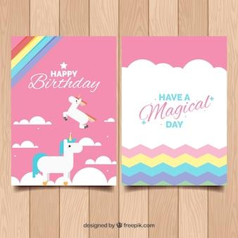 Modèle d'anniversaire avec des licornes