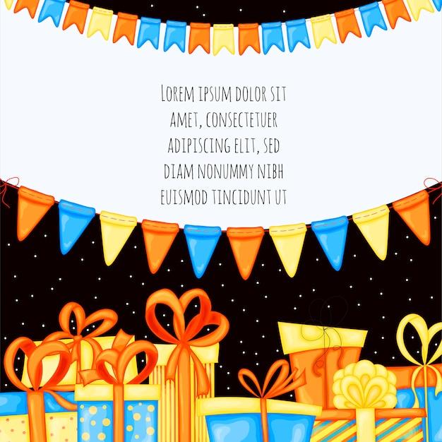Modèle d'anniversaire pour texte avec coffrets cadeaux. style de bande dessinée.