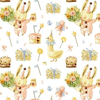 Modèle d'anniversaire vintage avec mignon lapin et oie dans des casquettes d'anniversaire avec des coffrets cadeaux et des bouquets