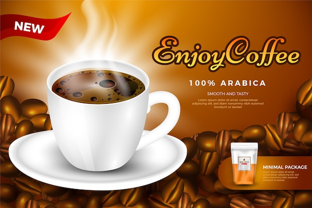 Modèle d'annonce de boisson pour le café
