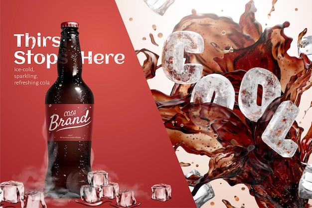 Modèle d'annonce de cola glacé avec un arrière-plan bicolore divisé par une ligne diagonale